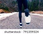 athlete runner feet running on... | Shutterstock . vector #791359324