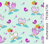cute cat seamless pattern with... | Shutterstock .eps vector #791361736
