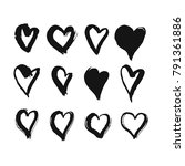 black hand drawn hearts. rough... | Shutterstock .eps vector #791361886