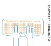 user with keyboard icon | Shutterstock .eps vector #791362906