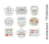 coffee and tea labels for...   Shutterstock .eps vector #791364166