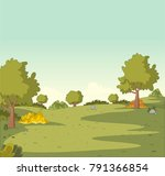 green park with grass and trees.... | Shutterstock .eps vector #791366854