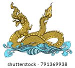 hand drawn thai dragon on water ... | Shutterstock .eps vector #791369938