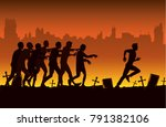 silhouette of crowd zombie... | Shutterstock .eps vector #791382106