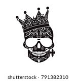 King skull icon with the crown and earing with ornament details