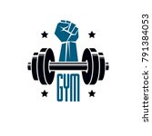 gym weightlifting and fitness... | Shutterstock .eps vector #791384053