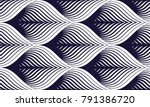 Seamless geometric pattern. Geometric simple fashion fabric print. Vector repeating tile texture. Roof tiling or fish squama shapes motif. Single color, black and white. Usable for fabric, wallpaper | Shutterstock vector #791386720