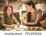 little girl draw  mom help her. ... | Shutterstock . vector #791392036