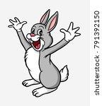 happy rabbit cartoon character... | Shutterstock .eps vector #791392150
