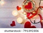 decorative hearts. a symbol of... | Shutterstock . vector #791392306