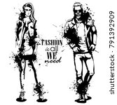 vector woman and man fashion | Shutterstock .eps vector #791392909