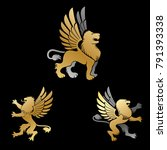 winged lion ancient emblems... | Shutterstock .eps vector #791393338
