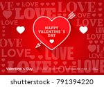 valentines day red banner with... | Shutterstock .eps vector #791394220