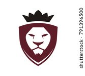 lion face head icon vector logo