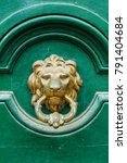 vintage door knocker on green... | Shutterstock . vector #791404684