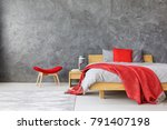 grey spacious bedroom interior... | Shutterstock . vector #791407198