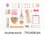 flat lay stylish set  clipboard ... | Shutterstock . vector #791408164