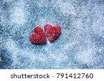 love hearts on wooden texture... | Shutterstock . vector #791412760