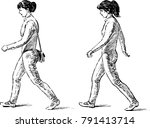 sketch of the striding young... | Shutterstock .eps vector #791413714