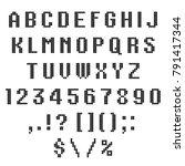 a knitted vector alphabet.... | Shutterstock .eps vector #791417344