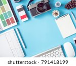 top view office desk workspace... | Shutterstock . vector #791418199
