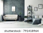 elegant beige sofa standing by... | Shutterstock . vector #791418964