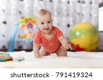 smiling crawling baby boy at... | Shutterstock . vector #791419324