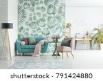turquoise lounge with pink... | Shutterstock . vector #791424880