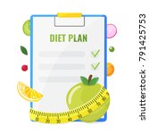 notepad with diet plan | Shutterstock .eps vector #791425753