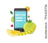 phone with app of diet plan | Shutterstock .eps vector #791425756