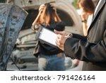insurance agent writing on... | Shutterstock . vector #791426164