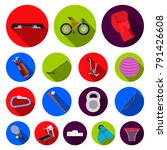 different kinds of sports flat... | Shutterstock .eps vector #791426608
