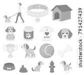 pet dog monochrome icons in set ... | Shutterstock .eps vector #791427439