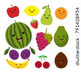 Funny Fruit Cartoon Isolated O...