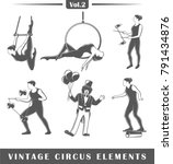 set of elements of the circus... | Shutterstock .eps vector #791434876
