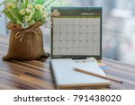 notebook with pencil diary on... | Shutterstock . vector #791438020