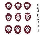super mega collection lion face ...   Shutterstock .eps vector #791442328
