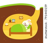 cute cartoon rabbit burrow... | Shutterstock .eps vector #791443159