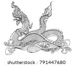hand drawn thai dragon on water ... | Shutterstock .eps vector #791447680