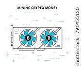 bitcoin mining concept with... | Shutterstock .eps vector #791455120