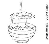 plate with hot soup  porridge ... | Shutterstock .eps vector #791456380