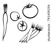 vector vegetables black and...   Shutterstock .eps vector #791459254