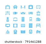 event supplies flat line icons. ... | Shutterstock .eps vector #791461288