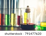 laboratory glassware containing ... | Shutterstock . vector #791477620