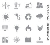 energy icons. gray flat design. ... | Shutterstock .eps vector #791484736