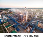 a huge oil refinery with metal... | Shutterstock . vector #791487508