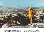 happy woman traveling outdoor... | Shutterstock . vector #791489698
