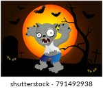 halloween  werewolf illustration | Shutterstock .eps vector #791492938