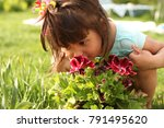 the girl is walking in the... | Shutterstock . vector #791495620