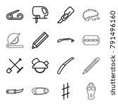 sharp icons. set of 16 editable ... | Shutterstock .eps vector #791496160